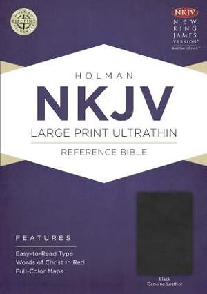 NKJV Large Print Ultrathin Reference Bible, Black Genuine Leather with Ribbon Marker