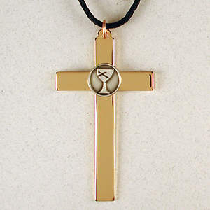 Gold Plated Service Cross with Pewter Disciples of Christ Logo