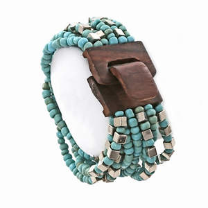 Java Bead and Metal Narrow Cuff Bracelet - Wood Turquoise