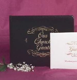 Guest Book Our Church Bonded Leather Black