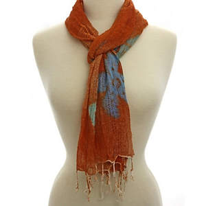Java Batiked Cotton Scarf - Orange
