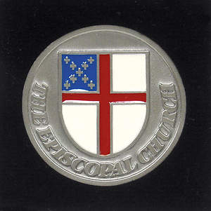 Pewter Episcopal Shield Paperweight