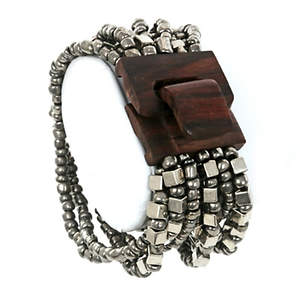 Java Bead and Metal Narrow Cuff Bracelet - Wood Platinum