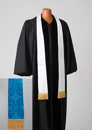 Brocade Plain Reversible Blue and White Stole