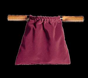 Large Two Handled Offering Bag Brass - Maroon