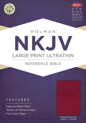 NKJV Large Print Ultrathin Reference Bible, Burgundy Genuine Leather with Thumb Index & Ribbon Marker