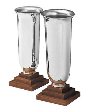 Vases Silvertone Aluminum 10 Inch with Liners (Pair)