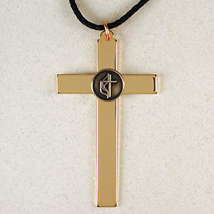 Gold Plated Service Cross with Pewter United Methodist Logo