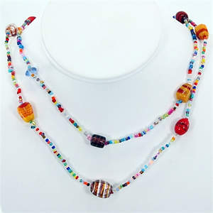 India Glass Bead Necklace - Long Strand