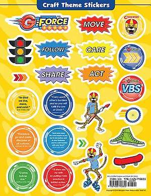 Vacation Bible School (VBS) 2015 G-Force Craft Theme Stickers (Pkg of 12)