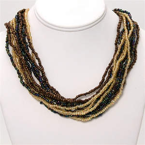 Java Beaded Necklace - 12- Strand Metallic's