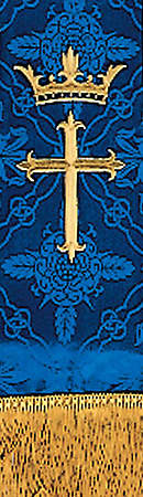 "Brocade Blue Cross Crown Embroidery 92"" Stole"