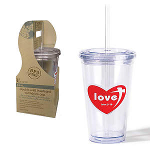 Double Wall Insulated Cold Drink Cup - Love Heart - 16oz