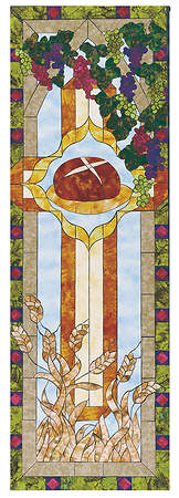 Stained Glass Communion Parament Set Bread Banner 2'x6'