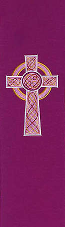 Celtic Cross Purple Cathedral Fabric Stole 110
