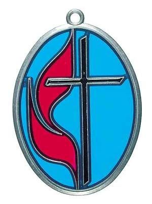 United Methodist Cross and Flame Suncatcher - Blue Glass/Pewter Finish