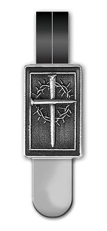 Ribbon Marker Cross and Crown Pewter Black