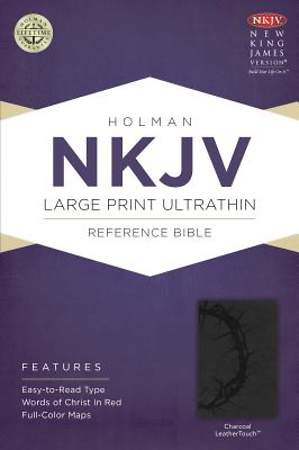 NKJV Large Print Ultrathin Reference Bible, Charcoal Leathertouch
