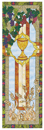 Stained Glass Communion Parament Set Wine Chalice Banner 2'x6'