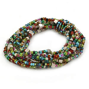 Java Wrapped in Beads Bracelet - Bronze and Lime