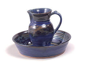 Footwashing Pitcher and Basin Earthenware Dark Blue
