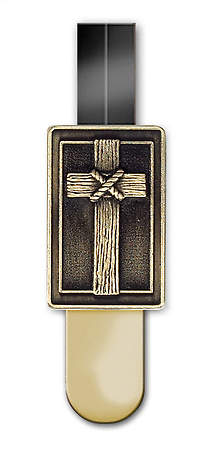 Bookmark Rugged Cross Ribbon Brass