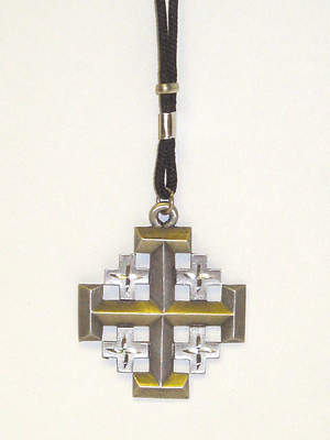 Pewter Jerusalem Cross with Adjustable Cord (#7210)