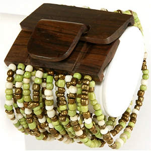 Java Beaded Wood Cuff Bracelet - Stretchy  Green/Bronze/Cream