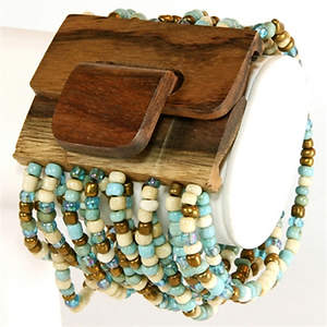 Java Beaded Wood Cuff Bracelet - Stretchy  Teal/Bronze/Cream