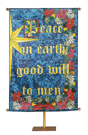 Banner Christmas Peace on Earth Stained Glass 4 X 6