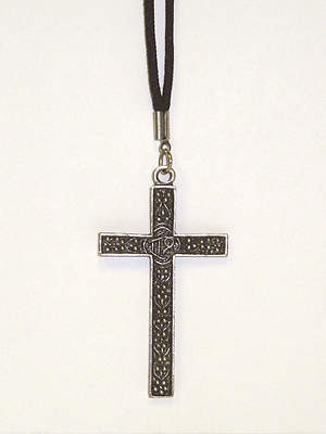Latin Cross with Silver Alloy with Antique Finish (#2987)