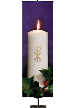 Photo Series Chi-Rho Purple Advent Banner 2' x 6'