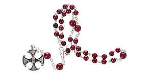 Prayer Beads Burgundy Glass with Canterbury Cross