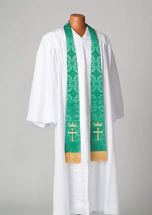 Brocade Cross Crown Embroidery Green Stole