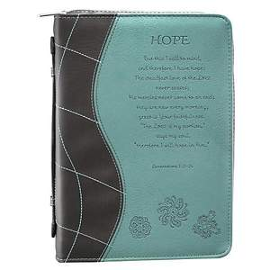 BIBLE COVER HOPE BROWN TEAL FLOWERS LARGE
