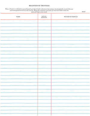 "Westminster Church Register – Register Of Trustees (""9 3/4 x 11"" Sheets)"