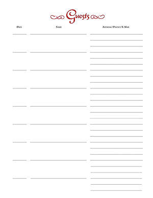 Guest of Our Church Register Refill Pages