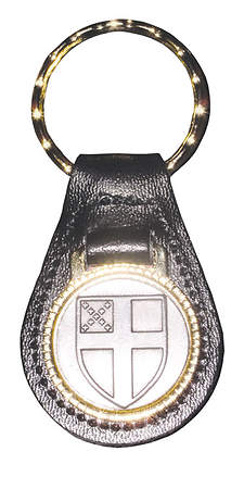 Leather Key FOB with Pewter Episcopal Shield