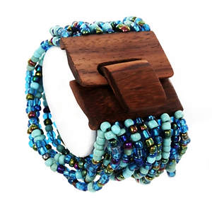Java Beaded Cuff Bracelet - Wood Multi-turquoise