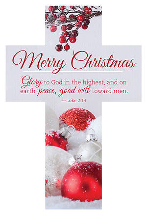 Christmas Cross Bookmark - Luke 2:14 Glory to God (Pack of 25)