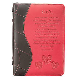1 Corinthians 13:4-8 Large Pink Love Bible Cover