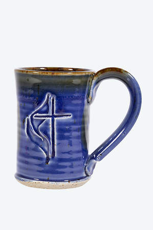 United Methodist Cross & Flame Handmade Ceramic straight-shaped Mug - deep Blue