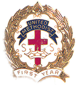 Cross and Crown Pin One Year United Methodist