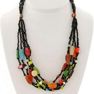 Java Beaded Necklace - Dramatic Contrast  Multi-colored