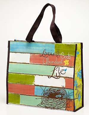 Loving God's Abundant Life Laminated Tote Bag
