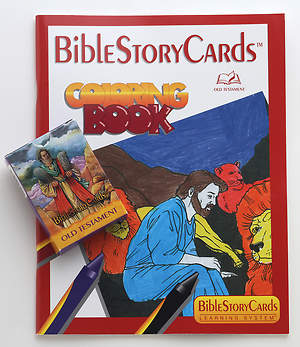 BibleStoryCards Old Testament Coloring Book and Card Pack Combo