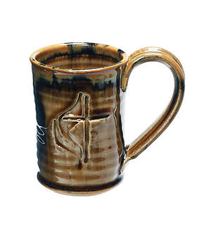 United Methodist Cross & Flame Handmade Ceramic straight-shaped Mug - Tan