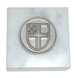 Marble and Pewter Paperweight with Episcopal Shield