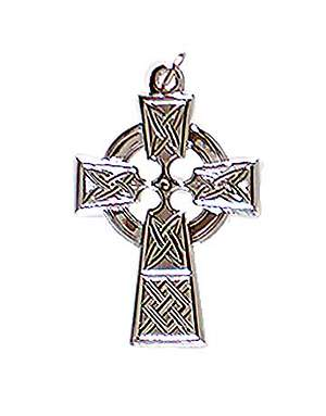 "Celtic Cross 1 3/8"" Silver-Plated Pendant"