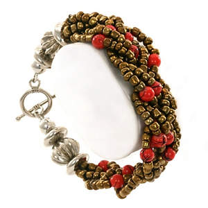 Java Braided Bead Bracelet - Bronze and Red